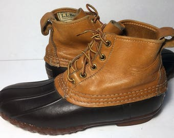 Vintage LL Bean Brown Leather & Robber Duck Rain Boot Women's Size 9