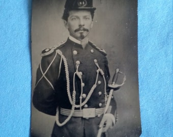 Antique 19th Century U.S. Army Captain Military Tintype Photo
