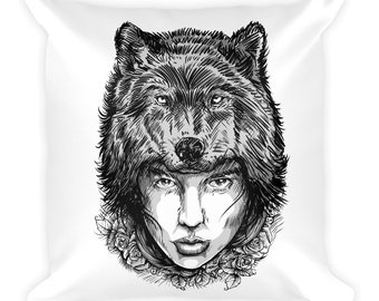 Wolf girl Print Pillow