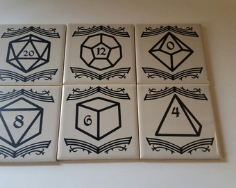 DnD Coasters (Set of Six) - Complete Dice Set