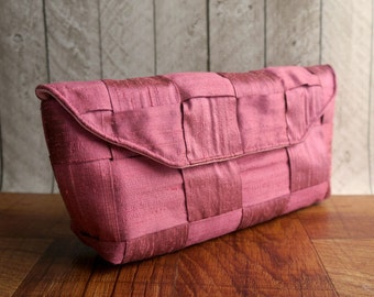 Clutch bag, rose pink purse, pink silk clutch, woven clutch purse, gift for her