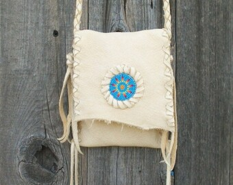Beaded leather purse , Handmade crossbody shoulder bag , Sunburst beadwork ,Cell phone bag ,  Camera case