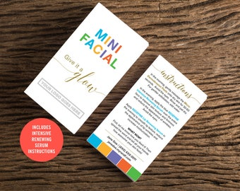 Rodan and Fields / Mini Facial Cards / Minimal / Custom / Give it a Glow / Love Your Skin / Instructions / Solid Color / Digital / Printable