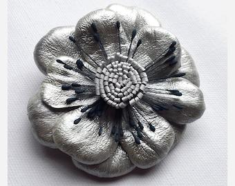 Flower Brooch, Leather flower, silver flower, leather brooch, wedding corsage, flower corsage, flower hair clip, flower pin, (lf31)