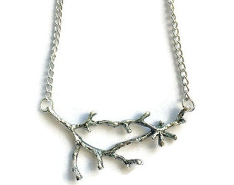 Silver Tree Branch Necklace, Silver Twig Necklace, Women's Choker Necklace, Tree Necklace, Boho Jewelry, Woodland Jewelry, Tree Jewelry