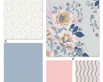 Lilac Pastel Pink Blue Floral Custom Crib Baby Bedding Set - The Ethereal Posy Collection