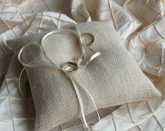 Ring Bearer Pillow/Cushion Ivory Burlap/Hessian  with single Pearl