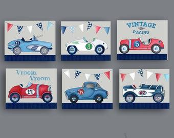 race car art, vintage race cars nursery art, race car wall art decor, boys nursery art prints