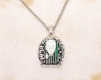 Hobbit Door Pendant With Silver Plated Owl On Silver Tone Chain Necklace