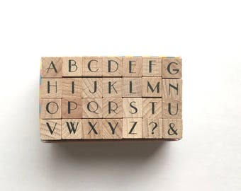 alphabet rubber stamp. uppercase letter stamps. wood mounted stamp. japanese design. large. scrapbooking. card making. no 10