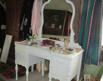 Antique Cottage Chic Shabby Victorian Vanity & Bench! Part of Entire Bedroom Set. Gorgeous Applique Detail. Each Piece Being Sold Separately