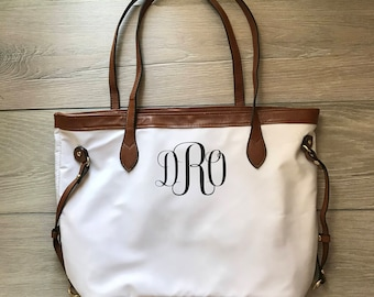Monogramed Large Bridesmaid Tote, Personalized Purse