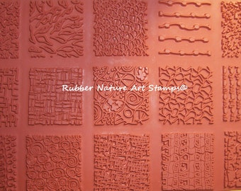 15 Deep Etched Rubber Nature Art Stamp Unmounted Texture Rubber Stamps 2 inch squrares by Designer, Sandi Obertin