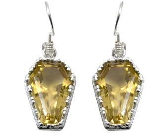 Coffin Earrings 10ct Natural Honey Quartz Solid Silver