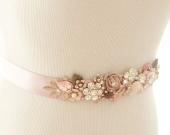 Bridal Sash - Vintage Style Wedding Sash - Wedding Accessory - Vintage Wedding Sash - Blush Wedding Sash - Rose Gold Sash