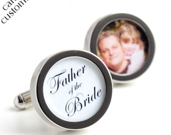 Custom Father of the Bride Cufflinks with Photo of Father and Daughter and Elegant Script Lettering PC437