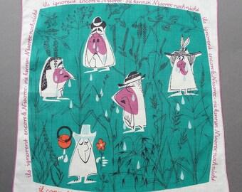 Vintage 60s Nisorex Advertising Promotional Novelty Hankie Handkerchief