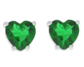 White Gold 2 Carat Emerald Heart Stud Earrings Sterling Silver