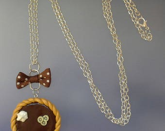 Long necklace of polymer clay chocolate tart