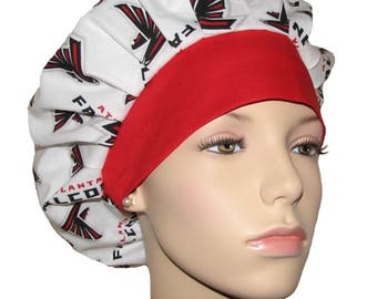 Scrub Hats - Atlanta Falcons Fabric With Red Headband