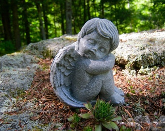 garden angel statues. Angel Statue, Sleeping, Cherub Cast In Stone, Small Concrete Cement Statues Garden