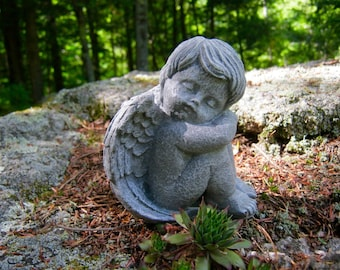 Angel Statue, Angel Sleeping, Cherub Cast In Stone, Small Concrete Cement  Angel Statues, Garden Decor, Concrete Statues, Stone Angels,