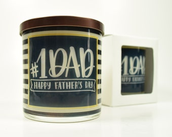 Happy Father's Day #1 Dad Candle - Natural Soy Candle, 12 oz Glass Soy Candle, Fathers Day Gift Idea, Gift For Dad, Father's Day Gifts