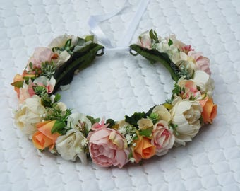 Head wreath - Pink, Peach & White