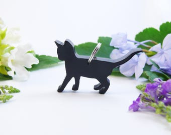 Black kitten necklace made from resin, cute cat jewelry pendant