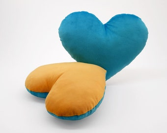Light Blue and Gold Team Spirit Hug Heart Shaped Pillow 12x14 inches