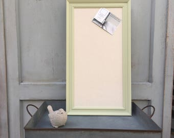 Fabric Pin Board - Any Colour - Custom Sizes - Framed Noticeboard - Cork Board - Green Frame - Made To Order - Pre Order - Calico Cotton