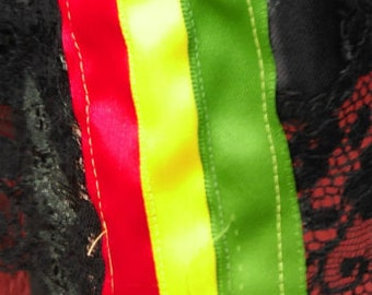 Rasta ribbon for decorating clothing,bags,or anything you would like.The Rasta colors red,yellow,and green make great ribbon for designers