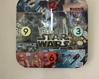 Decoupage comic book clock - Star Wars, Batman, Superman, Batgirl, Deadpool