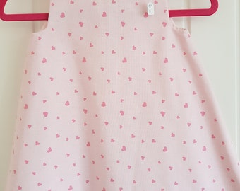 Palr Pink Heart Girls Pinafore Dress Age 1 years