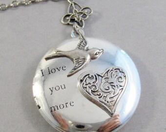Love You More,Sparrow,,Sparrow Locket,Bird Necklace,Bird Jewelry,Love you Jewelry,Love Necklace,Heart Necklace,Sparrow , valleygirldesigns.