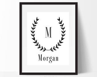 Custom Print, Name Print, Initial Print, Christmas Gift, Personalized Prints, Monogram Print, Home Decor, Kids Room Decor, Wall Art Print