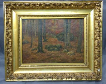 Antique Original Oil Painting Portrait Landscape Trees Gold Gilt Picture Frame