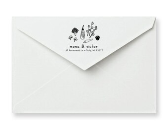Vegetable Address Rubber Stamp - Personalized Address Stamp - Custom Address Stamp