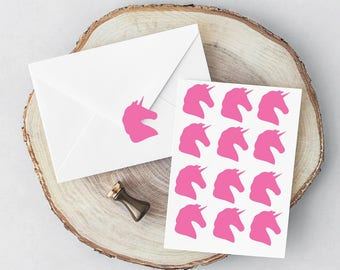 Unicorn Vinyl Sticker, Envelope Seal Gold, DIY invitations, Favour stickers, 20/40, Craft, Scrapbook, party, Unicorn Birthday, Gift Wrapping
