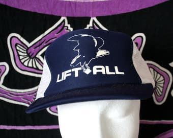 Lift All Postal Trucker Blue Baseball Cap With An Eagle On It. Blue 80s Retro Mesh Snapback Hat.  Vintage Baseball Cap.  80s Trucker Cap.