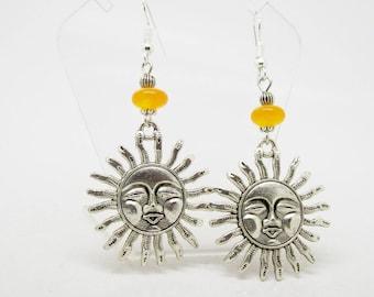 Sun Earrings - Silver Earrings - Yellow Kunzite Earrings - Celestial Earrings - Sun Jewelry - Festival Earrings - Kunzite