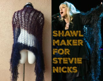 Dark Lace Shawl, Evening Shawl, Midnight Blue and Black Evening Wrap, Formal Clothing Stevie Nicks Style Clothing with Purple, Navy, Maroon