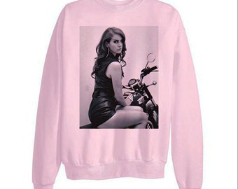 Lana del rey motorcyle high by the beach honeymoon born to die ultraviolence mouth diamond - fleece sweatshirt sweater pink
