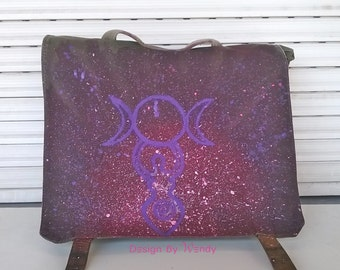 Triple Goddess and Spiral Goddess Handpainted Backpack, Glow in the Dark Pagan Symbols, Wiccan Symbols, READY TO SHIP bag