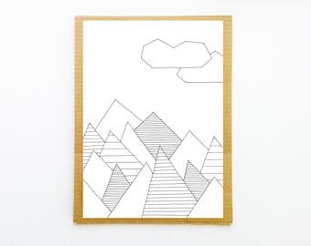 Mountain print, Landscape wall art, Mountain art, Landscape art print, Landscape print, Minimalist poster, Graphic art, Living room prints