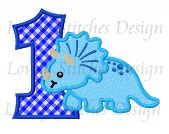 Dinosaur With Number 1 Applique Machine Embroidery Design NO:0491