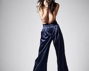 Maxi Pants, Navy Blue Pants, High Waisted Pants, Women Pants, Plus Size Pants, Women Trousers, Satin Pants, Elegant Pants, Designer Pants