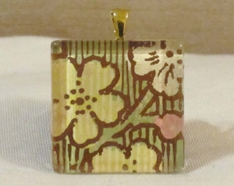 Large 1 3/8 square glass tile pendant floral gold metallic foil print cherry blossom