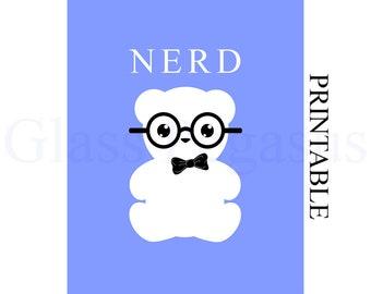 Graduation Gift for Him - Instant Download - Nerd Print - Modern Wall Art - Word Art  - Blue 8 x 10 Print
