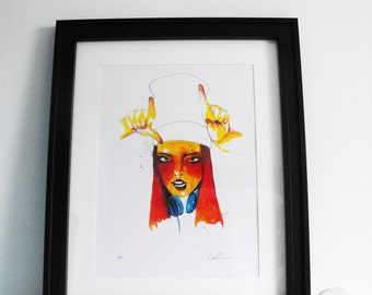 The girl with the hat, signed limited print A3